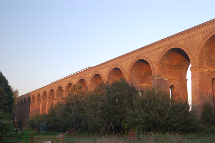 viaduct at sunset